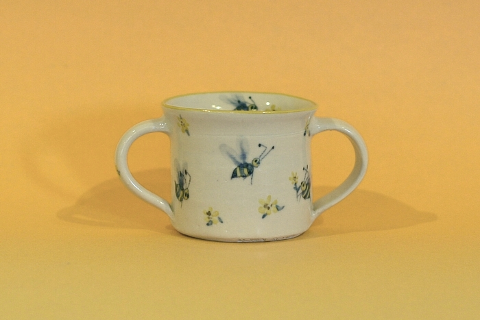 Child's Porcelain Mug  - 6 oz  - 2 Handles with Bee and Flower Decoration, Forks Road Pottery, Grimsby, Ontario